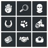 Detektiv- symbolsuppsättning Royaltyfria Bilder