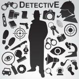 Detektiv- symbolsuppsättning Fotografering för Bildbyråer