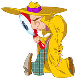 Detektive. The detective goes with a magnifier and searches for vestiges of the crime Stock Images
