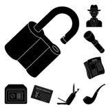 Detektyw i atrybut czarne ikony w ustalonej kolekci dla projekta Detektywistycznej agenci symbolu zapasu sieci wektorowa ilustrac royalty ilustracja