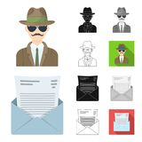 Detektyw i atrybut kreskówka, czerń, mieszkanie, monochrom, kontur ikony w ustalonej kolekci dla projekta Detektywistyczna agencj ilustracji