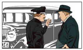 Detektyw i policjant blisko antykwarskiego samochodu tła jaskrawy ilustracyjny pomarańcze zapas ilustracja wektor