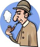 Detektyw z fajczaną kreskówki ilustracją Zdjęcie Royalty Free