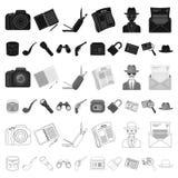 Detektywa i atrybut kreskówki ikony w ustalonej kolekci dla projekta Detektywistycznej agenci symbolu zapasu wektorowa sieć ilustracji