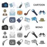 Detektywa i atrybut kreskówki ikony w ustalonej kolekci dla projekta Detektywistycznej agenci symbolu zapasu wektorowa sieć ilustracja wektor