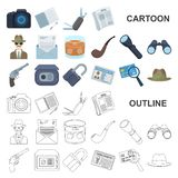 Detektywa i atrybut kreskówki ikony w ustalonej kolekci dla projekta Detektywistycznej agenci symbolu zapasu wektorowa sieć royalty ilustracja
