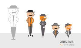 detektywi Płascy charaktery Ustawiający Liniowa sylwetka ilustracji