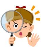 Detektywistyczna twarz kobieta patrzeje przez powiększać - szkło, wyraz twarzy i gest, royalty ilustracja