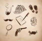 Detektywistyczne nakreślenie ikony ustawiać Obrazy Royalty Free