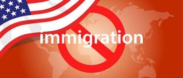 Detención de los E.E.U.U. los Estados Unidos de América de la prohibición de viaje de la inmigración del país ilustración del vector
