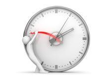 Detención de las manos de reloj para parar el tiempo Fotos de archivo libres de regalías