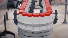 Detergent on Automated Production Line. Clip. Production line of production chemicals Royalty Free Stock Images