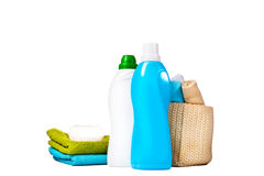 Detergent in blue and white plastic bottles Royalty Free Stock Photography