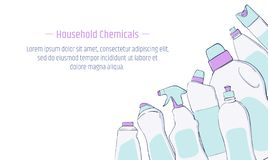 Detergent bottle and chemicals household product banner template. Vector illustration stock illustration