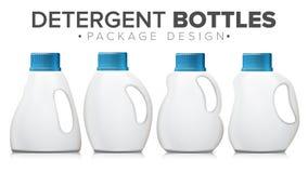 Detergent Bottle Set Vector. Realistic Mock Up. White Clean Plastic Bottle. 3d Detergent Bottle Mock Up Vector. Blank Plastic Container Bottle For Laundry Stock Photography