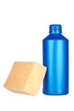 Detergent bottle and sponge Royalty Free Stock Image