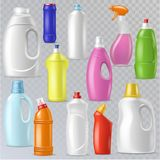Detergent bottle vector plastic blank container with detergency liquid and mockup household cleaner product for laundry stock illustration