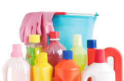 Detergent bottles and bucket Royalty Free Stock Photos