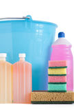 Detergent bottles bucket Royalty Free Stock Photo