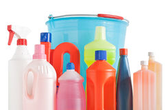 Detergent bottles and bucket Stock Images