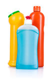 Detergent bottles . Chemical cleaning supplies Royalty Free Stock Image
