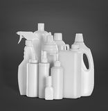 Detergent bottles and chemical cleaning supplies Stock Image