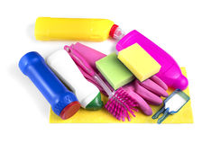 Detergent bottles and chemical cleaning supplies Royalty Free Stock Image