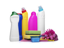 Detergent bottles and chemical cleaning supplies. On white stock image