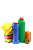 Detergent bottles and cleaning sponge. Stock Photo