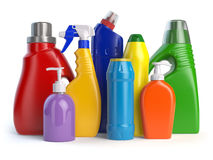 Detergent bottles or containers. Cleaning supplies isolated on w. Hite background. 3d illustration Stock Photos