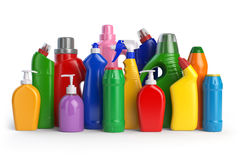 Detergent bottles or contaners. Cleaning supplies  on wh Stock Photography