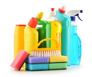 Detergent bottles isolated on white. Chemical cleaning supplies Stock Images