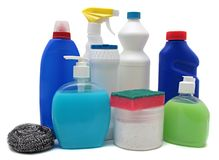 Detergent bottles isolated white. Chemical Royalty Free Stock Images