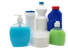 Detergent bottles isolated white. Chemical Stock Image