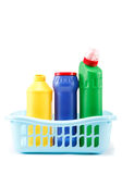 Detergent bottles, rubber gloves and cleaning sponge Stock Photos