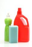 Detergent bottles and sponge Royalty Free Stock Images