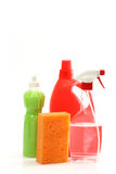 Detergent bottles and sponge Royalty Free Stock Photos