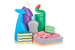 Detergent bottles and sponges Stock Image