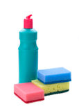 Detergent bottles and sponges Stock Images