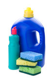 Detergent bottles and sponges Royalty Free Stock Photo