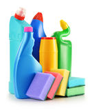 Detergent bottles  on white. Chemical cleaning supplies Stock Photography