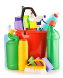 Detergent bottles  on white. Chemical cleaning supplies Stock Photo