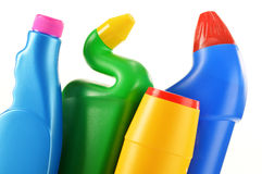 Detergent bottles on white Stock Photography