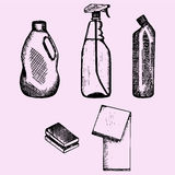 Detergent container, sponge and cleaning cloth. Set of detergent container, sponge and cleaning cloth, doodle style, sketch illustration Stock Images
