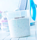 Detergent for a laundry washer Stock Photos