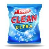 Detergent ontwerpmalplaatje op het pakket van de foliezak Stock Afbeeldingen