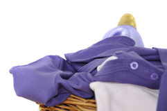 Detergent and Purple Laundry Stock Photo