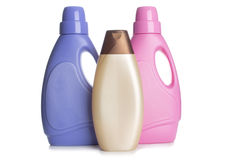 Detergent and shampoo bottles Stock Photos