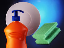 Detergent and sponge Royalty Free Stock Image