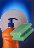 Detergent and sponge Royalty Free Stock Photo